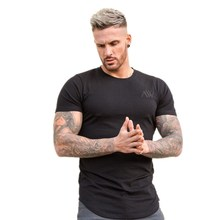 New Mens Gyms Fitness T-shirt Jogger Workout Cotton t shirts Man Round colla Printed Slim Tee Tops Fashion Casual Brand clothing
