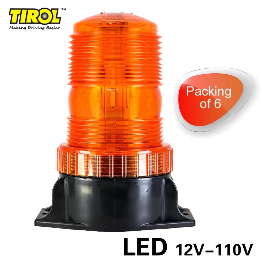 Tirol T16889d 6pcs/lot New 12V-110V Mini LED Strobe Beacon Amber Warning light Emergency Car Truck Safety Construction