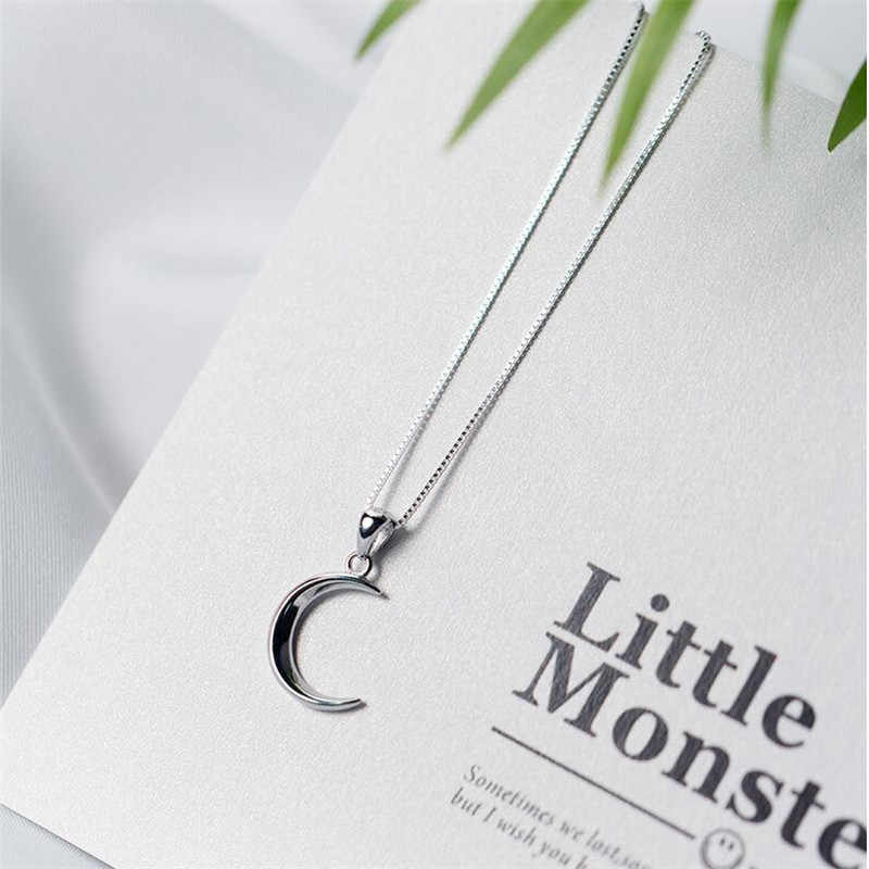 Korean Style New Fashion Sweet Moon 925 Sterling Silver Jewelry Temperament Crescent Clavicle Chain Pendant Necklaces H418