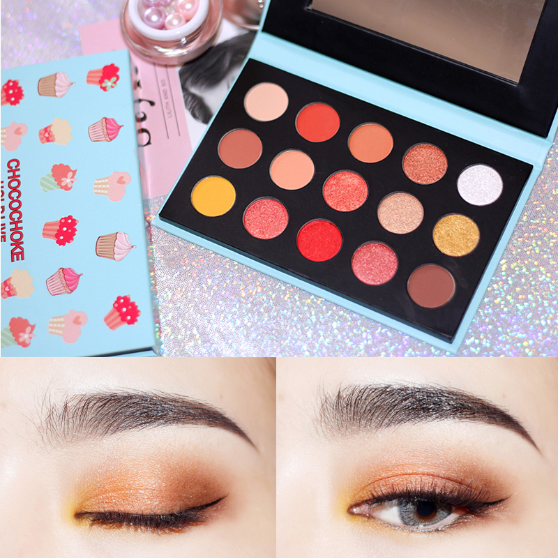 HOLD LIVE Matte Shimmer Eye Shadow Palette Pigment Glitter Eyeshadow Eyes Makeup Beauty 15 Colors Ice Cream Nude Makeup Shadow 9 full colors shimmer matte eye shadow palette pigment glitter eyeshadow palettes nude shadows cosmetics korean makeup eyes