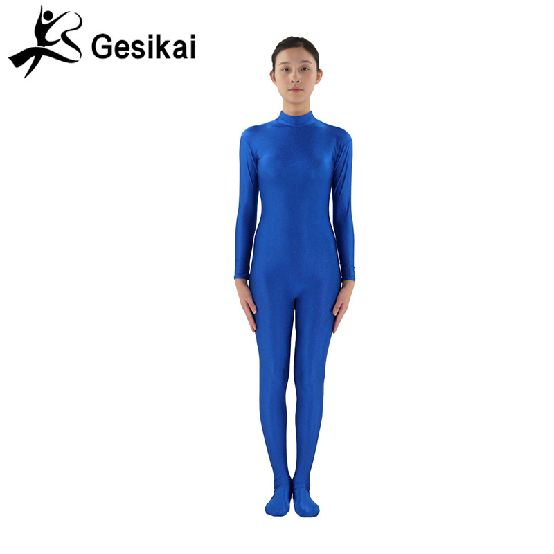 24 Hrs Shipped Out Womens Blue Unitards Footed Long Sleeves Turleneck Unitards Womens Yoga Dancewears Fitness Suits