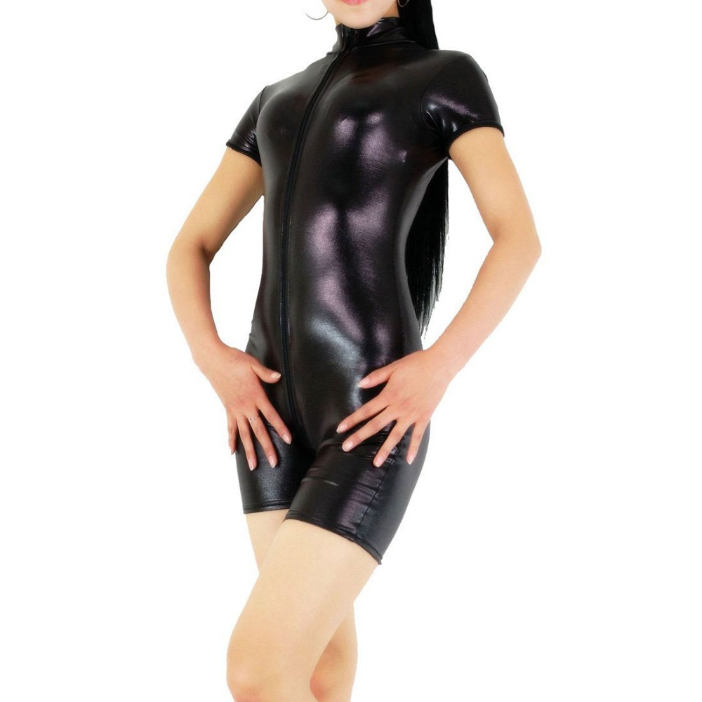 Womens Short Sleeve Mock Neck Unitards with Crotch Zipper Shiny Metallic Spandex Biketards Turtleneck Full Bodysuits