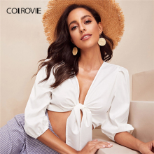 COLROVIE White V Neck Solid Knot Tie Front Sexy Crop Women B