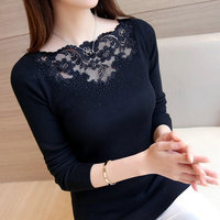 2017 Spring Sexy Lace Knitted Sweater Women Solid Color Slash Neck Slim Fit Elastic Sweaters Female