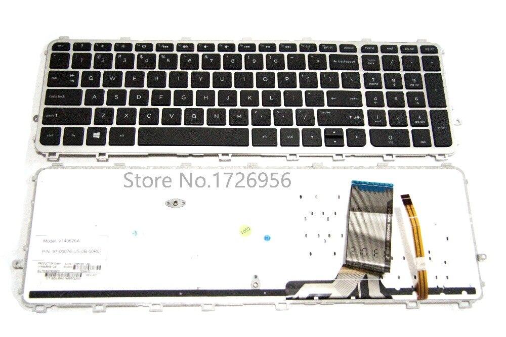 UK Keyboard W// Silver Frame Backlit for HP ENVY 15-J 17-J 15-J000 17-J000 Series