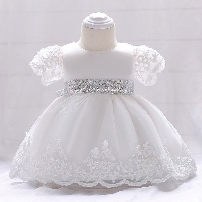 Infant Delicate Birthday Party Dress Wedding Event Flower Girl Short Sleeve Lace Childrens Clothing