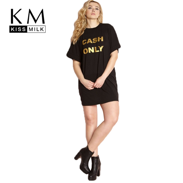 6bac0b6c2da Kissmilk Plus Size Golden Letter Print O Neck Short Sleeve Shirt Dress  Comfortable Solid Black Women Dress Summer Large Dress