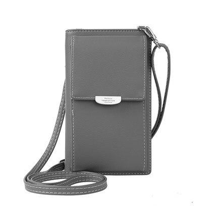 Новинка, Женский кошелек на каждый день, брендовый кошелек для мобильного телефона, большие держатели для карт, кошелек, сумочка, клатч, сумка на ремне через плечо - Цвет: gray