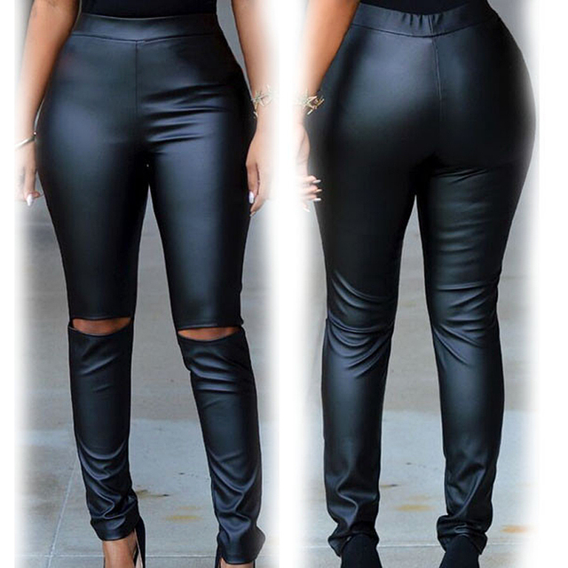 Women's Sexy Fashion Faux Leather High Waist Skinny PU Leggings Pants,Plus Size Leather Cut-out Knee Leggings For Women S79799