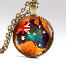 Australian Flag Map Necklaces & Pendants Old Map Jewelry Australian Flag Gift
