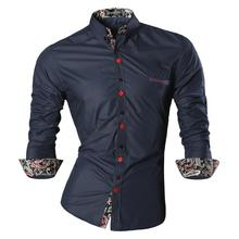 Jeansian Men's Fashion Dress Casual Shirts Button Down Long Sleeve Slim Fit Designer Z027 Navy цена