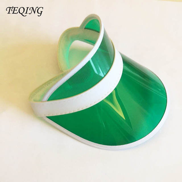 Summer Holiday Sun Hat Sun Visor Sunvisor Party Casual Unisex Hat Spring  Autumn Red Green Clear Plastic Solid Adult Cap H-78 4c5236482cb5