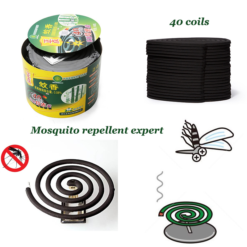 32Pcs Cases Mosquito Dispeller Coils Repellant Home Camping Incense with Holder