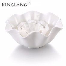 Restaurant Plastic Melamine Flower Shape Big Salad Bowl Household  Use Fruit Deep Tableware