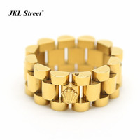 JKL Mens 10mm Luxury Link Band Ring Stainless Steel Gold Tone Hiphop Watchband Style President Crown Ring Size 8 10 12