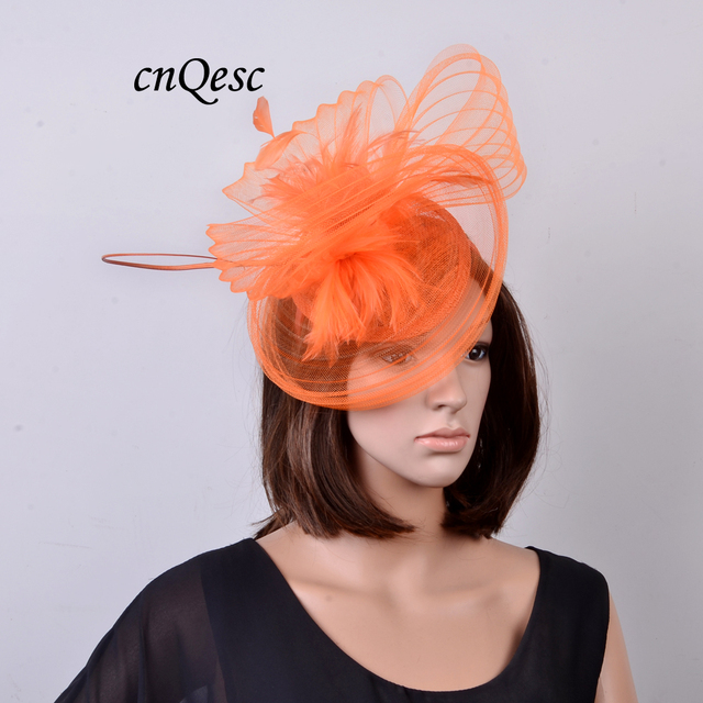 NEW Orange Sinamay Hat Fascinator crin fascinator with feathers and long ostrich  spine for Kentucky Derby b8fb8339e348