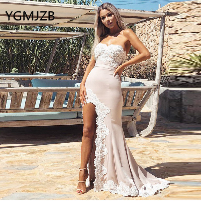 Sexy   Bridesmaid     Dresses   Long 2019 Mermaid Sweetheart High Side Split Appliques Lace Formal Gowns For Wedding Party   Dress