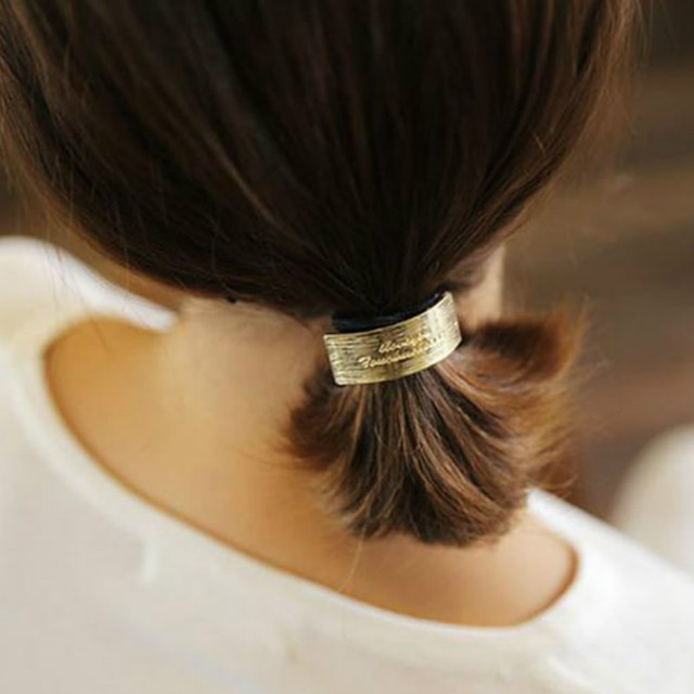 1pcs New Arrival Hair Rope Gold Feather Hair Bands Ponytail Headwear