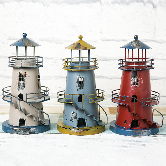 Creative home in the Mediterranean village retro metal lighthouse to ...