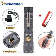 Rechargeable XM-L T6 Flashlight 8000ml torch Zoomable lamp 3 Modes Tactical Direct ChargingTorch Portable Aluminum 18650 Battery 2300lm searchlight 3 modes handheld xm l t6 zoomable rechargeable led portable spotlight 18650 flashlight torch lamp