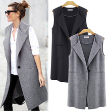 Fashion Women Slim Long Waistcoat Sleeveless Draped Jacket Vests  Cardigan Open Front Duster Coat Winter Gilet Pockets Chalecos pockets knit open front cardigan