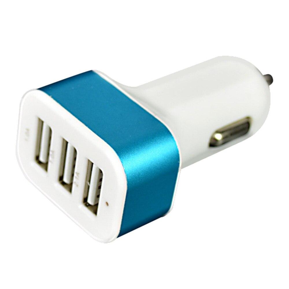 3In1 USB USB-opladningsadapter 3 Port 1A / 2.1A 12-24V Biladapter Bærbar socket cigarettænder