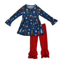 Vente chaude Giggle Lune Filles Vêtements À Manches Longues Dieu Bébé jésus imprimer dress rouge double ruche pantalon enfants bébé tenues F071