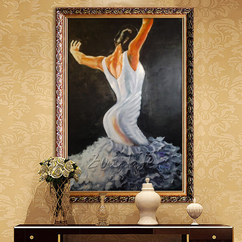 Spanish Flamenco Dancer oil painting latina woman on canvas wall art pictures for living room decor quadro decorativo wall decor
