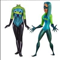The Incredibles 2 Movie Women Kids Voyd Cosplay Costume Green Zentai Bodysuit Suit Jumpsuits