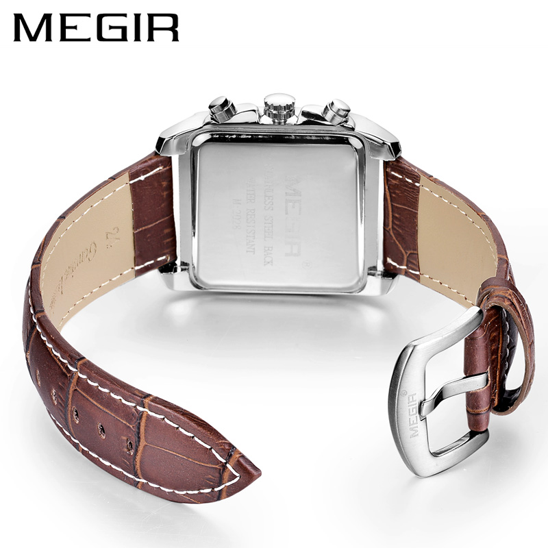 MEGIR Original Watch Men Top Brand Luxury Rectangle Quartz Military Watches Waterproof Luminous Leather Wristwatch Men Clock 2