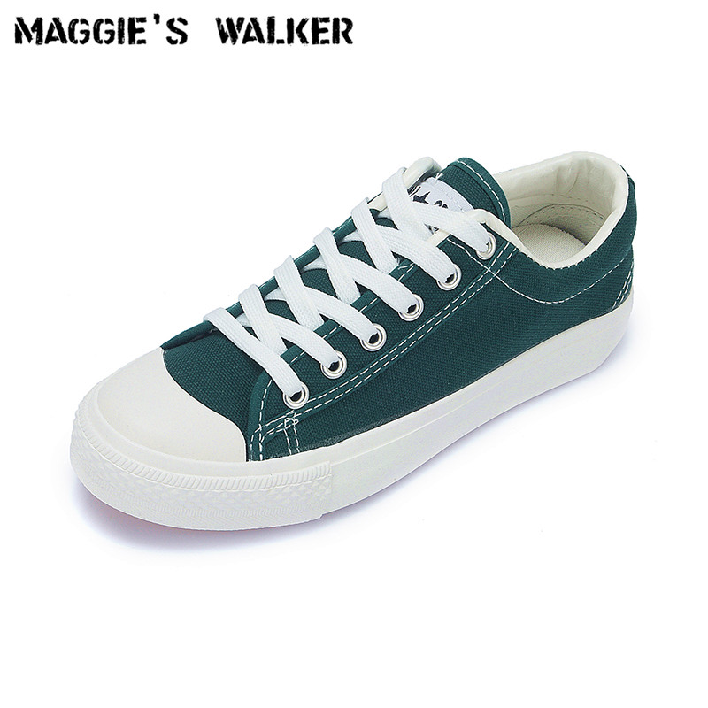 Maggie's Walker Women Fashion Lacing Canvas Casual Shoes Low-top Preppy Style Candy-colored Platform Shoes Size 35~40 e lov fashion luminous constellation canvas shoes low top sagittarius horoscope graffiti casual walking shoes for women