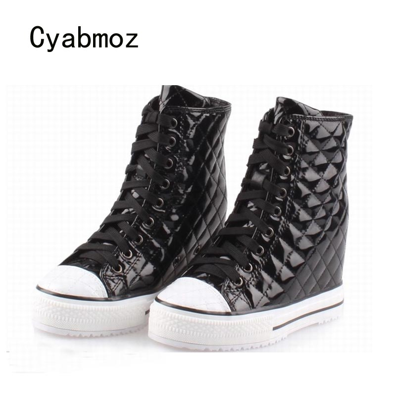 Cyabmoz Women High Heels Platform Woman Wedge High Top Height Increasing Party Casual Ladies Shoes Zapatillas Mujer Ankle Boots 2018 wedge high heels thick soled high top ladies casual shoes women platform canvas shoes hidden wedge heel boots zapatos mujer