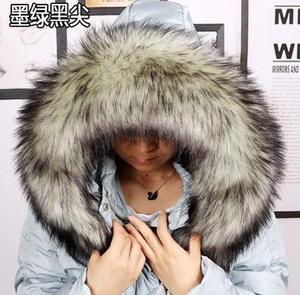 Image 2 - Autumn and winter womens Faux fur collar cap fox fur big collar raccoon fur collar muffler scarf cape thicken warm scarf