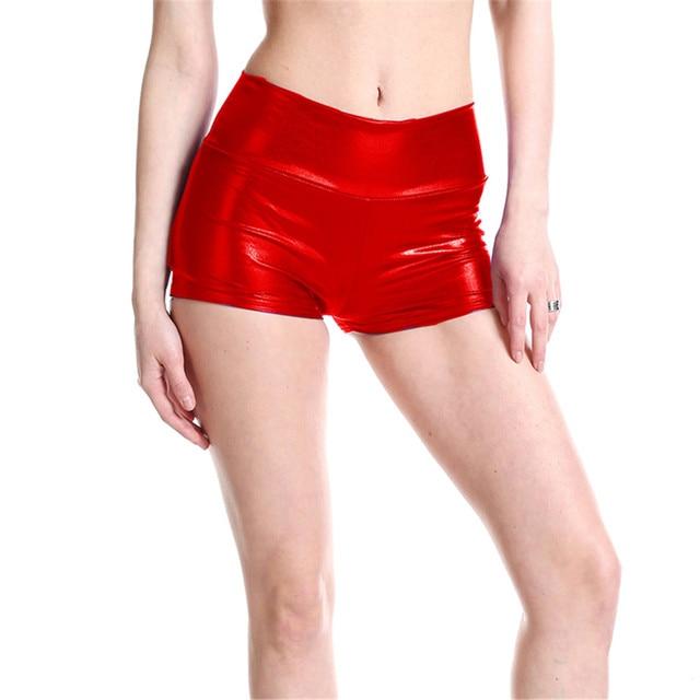 booty shorts women 2019 Pu light Pure color Middle-waisted UltraShort Nightclub perform short feminino spodenki damskie spodenki