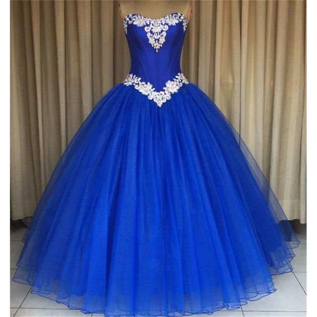 Royal Blue Long Ball Gown Prom Dresses 2017 Sweetheart Beaded Lace ...