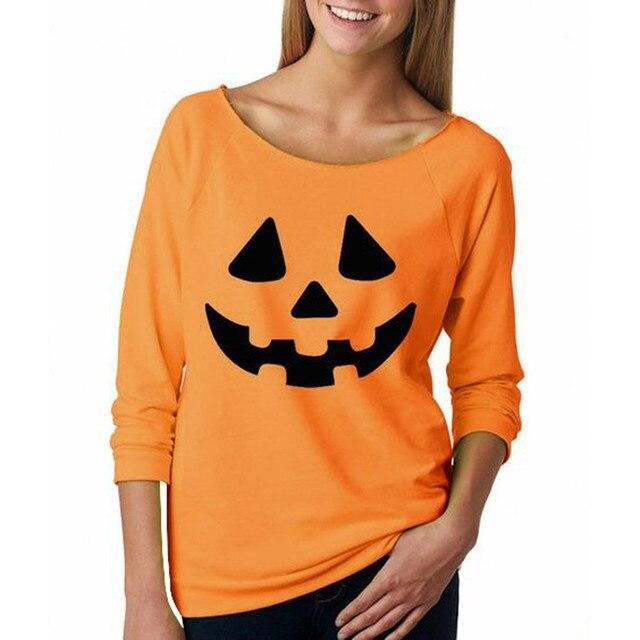 Halloween Pumpkin Print Long Sleeve Sweatshirt Pullover 3