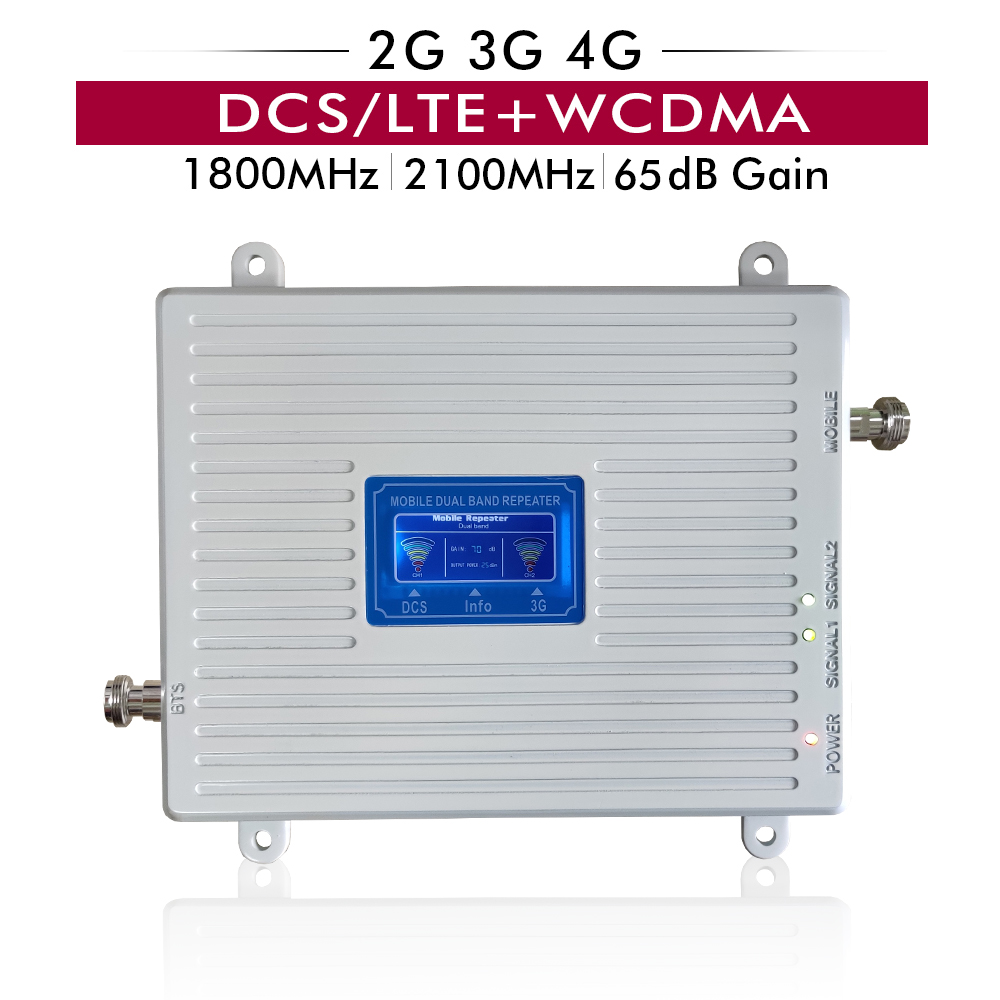 65dB Gain 4G DCS/LTE 1800 (Band 3)+3G UMTS WCDMA 2100 (Band 1) Mobile Phone Signal Booster Dual Band Cellular Repeater Amplifier