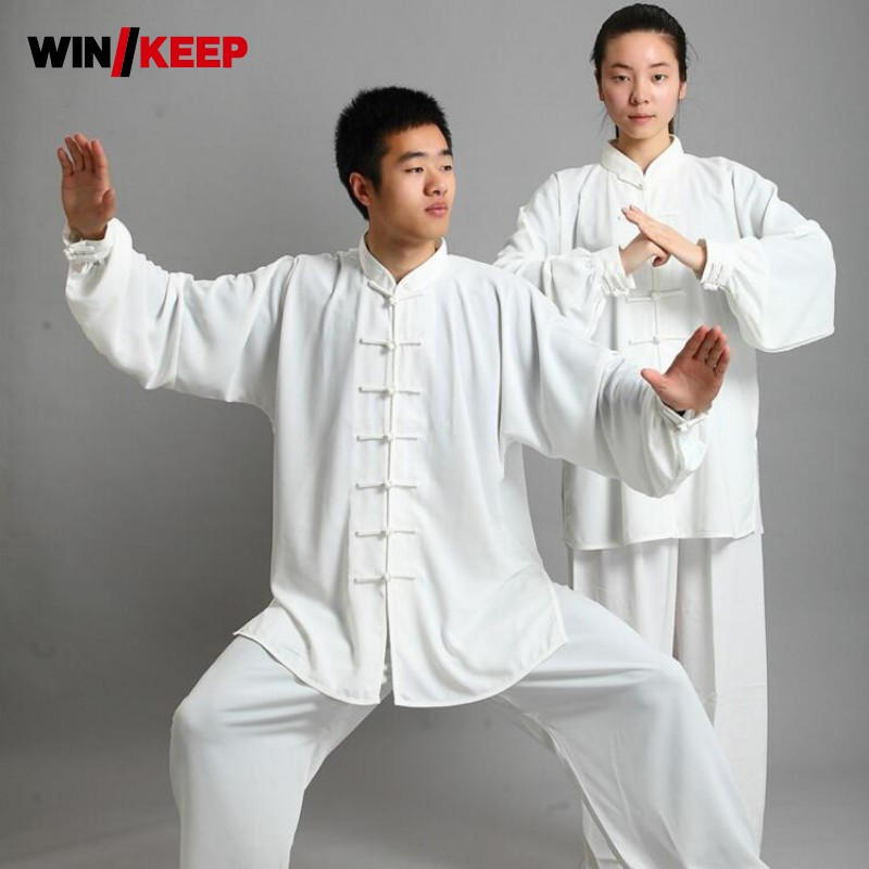 Traditional Chinese Faux Silk 16 Color Long Sleeved Wushu Tai Chi Uniform Suit Meditation Uniforms Tai Chi Exercise Tracksuit
