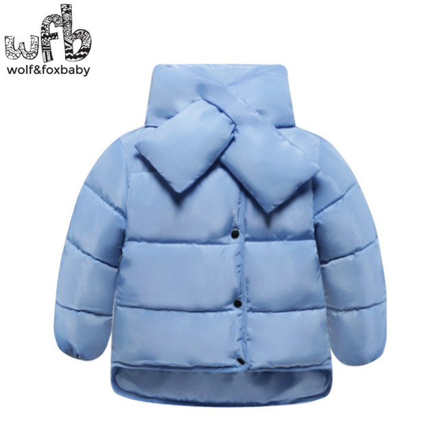 Retail 1-6 years children Down jacket bow-neck full-sleeves solid color Keep warm coat kids spring autumn fall winter