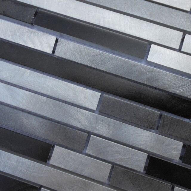 Tira gris color aluminio metal mosaico malla de respaldo para cocina ...
