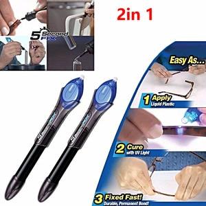 2PCS/Lot Useful 5 Second Quick Fix Liquid Glass Welding Compound Glue Pen UV Light Repair Tool Refill Tools(China)