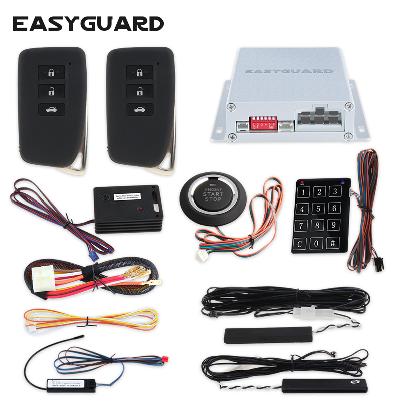 EASYGUARD PKE remote central lock system keyless entry push start system auto start keyless go shock warning password entry rolling code rfid pke car alarm system push button start stop remote engine start passive keyless entry smart password keypad
