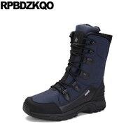 На шнуровке Зимние ботинки на меху Повседневное Snowboot синий Водонепроницаемый уличные Нескользящие 2018 плюс Размеры мужские зимние сапоги д
