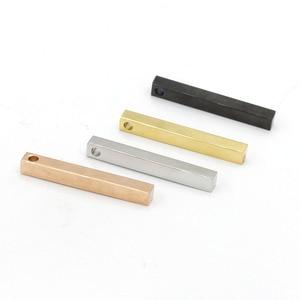 Image 3 - Fnixtar 20 sztuk/partia 5*40mm taśmy Charms ze stali nierdzewnej puste Bar Charms dla DIY Making naszyjnik bransoletka nazwa niestandardowa Logo biżuteria