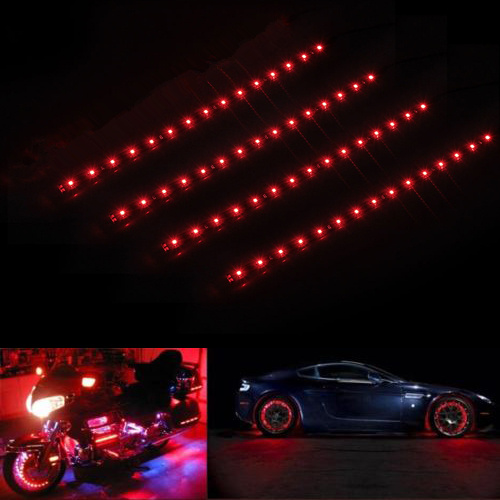 """Car 12/"""" 30CM red 15LED light strip kit 12V with wireless remote control"""