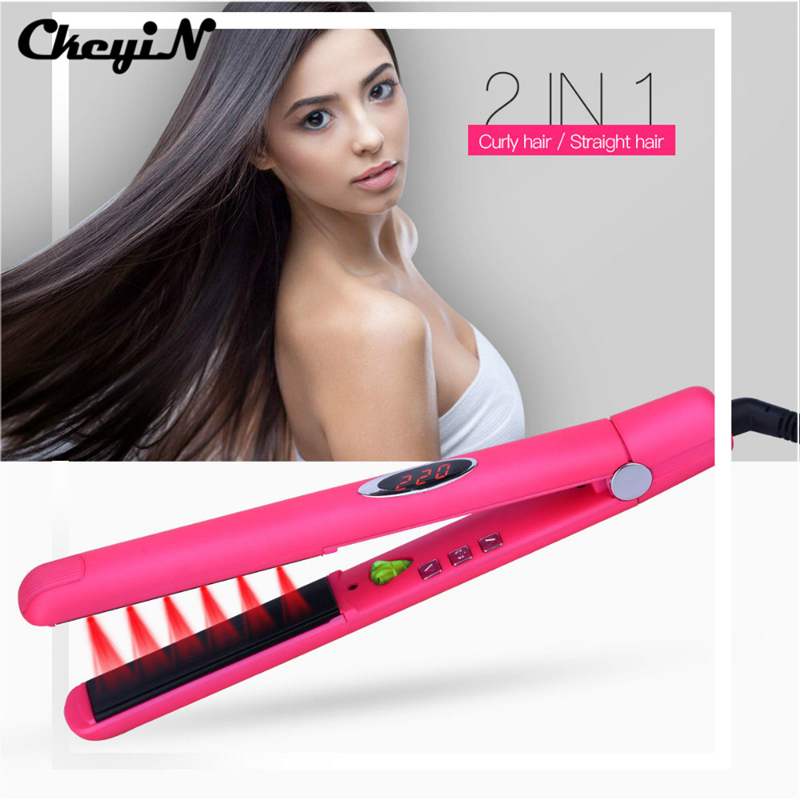 CkeyiN Professional Ceramic Infrared Heating Plate Hair Straightener Straightening Iron Styling Tools Negative Ions Hair Care mch flexible 3d floating ceramic wide plates flat iron far infrared hair straightener straightening curling with negative ions
