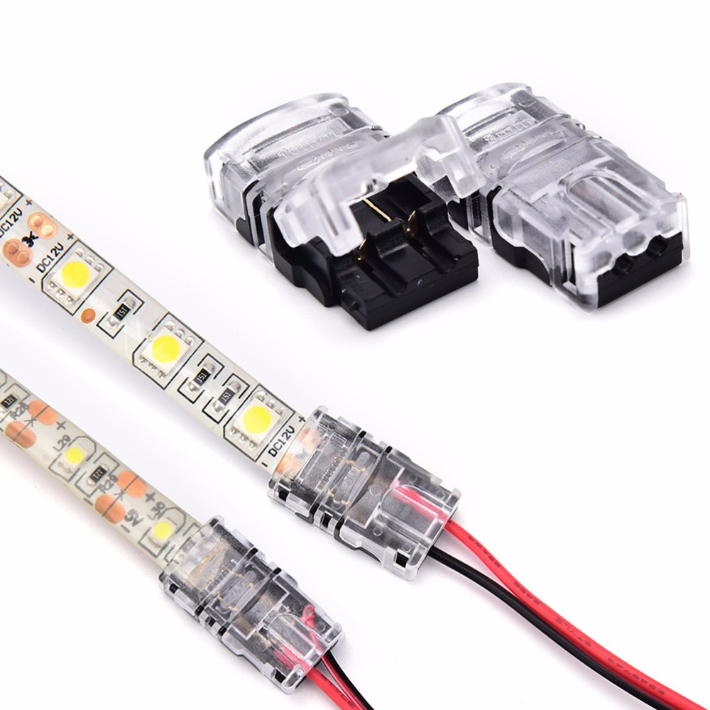 New 2pin LED Strip to Wire Connector for 8/10mm Single Color IP65 Waterproof SMD 5050 5630 LED Tape Light Connection Conductor 10pcs led strip connector 4 pin non waterproof 10mm tape light connector for 10mm 5050 ip20 led rgb strip light to wire cable