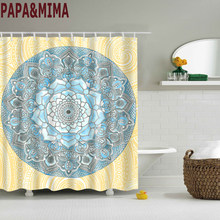 Papa&Mima indian style Waterproof Shower Curtains Polyester Bathroom Curtains With Hooks 180x180cm Decorative Bathtub(China)