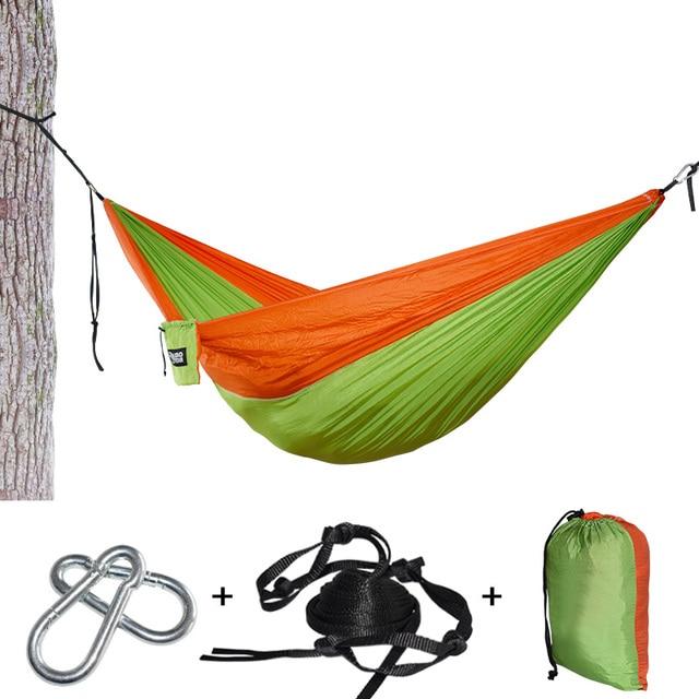 Leve e Portátil Parachute Nylon Hammock Com Tiras de Árvore Árvore de Dormir Cama de Nylon Ultraleve Portátil Pendurado Hamak Dupla