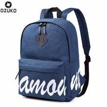 Ozuko Simple Men Women Backpack with Letter Print Hidden Zipper Student School Bags for Teenagers Boys Girls Travel Backpacks